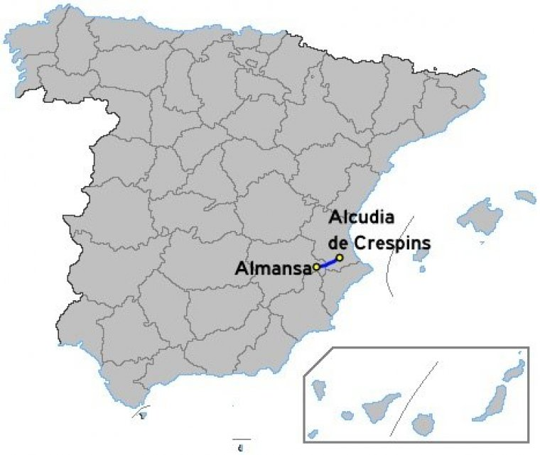 Map Of Xativa Spain.Autovia A 35 Autovia Almansa Xativa Spain