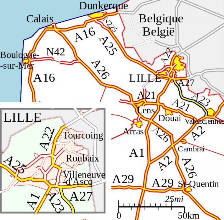Motorway Map Of France.A23 Autoroute France